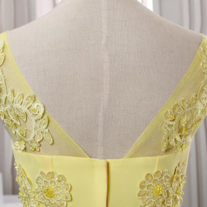 2016 New arrival yellow lace evenin..