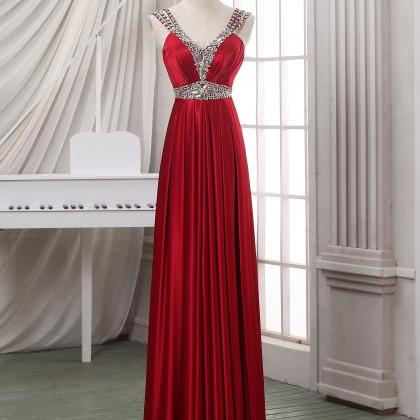 Red Long A-Line Pleated Prom Dress ..