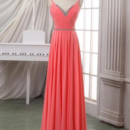 Coral V neck long chiffon evening d..