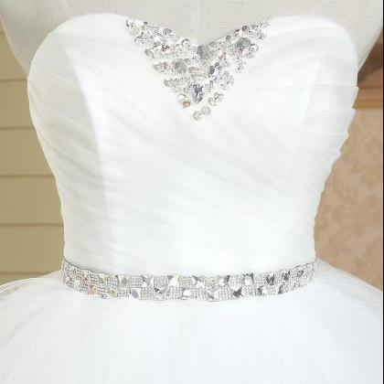 Sweetheart Princess Puffy Ball Gown Tired Ruffled Pleated Beaded ...