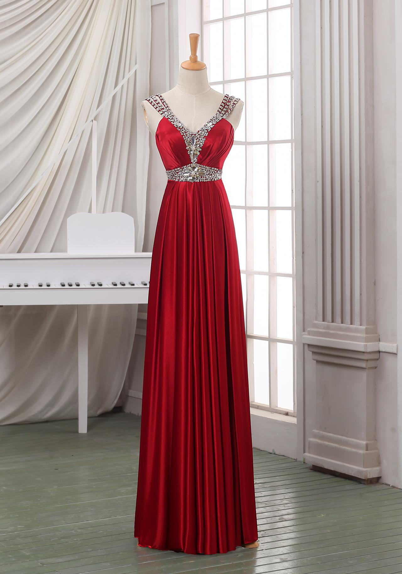 Red Long A-Line Pleated Prom Dress Featuring Plunge V Bodice and Crystal Embellishments