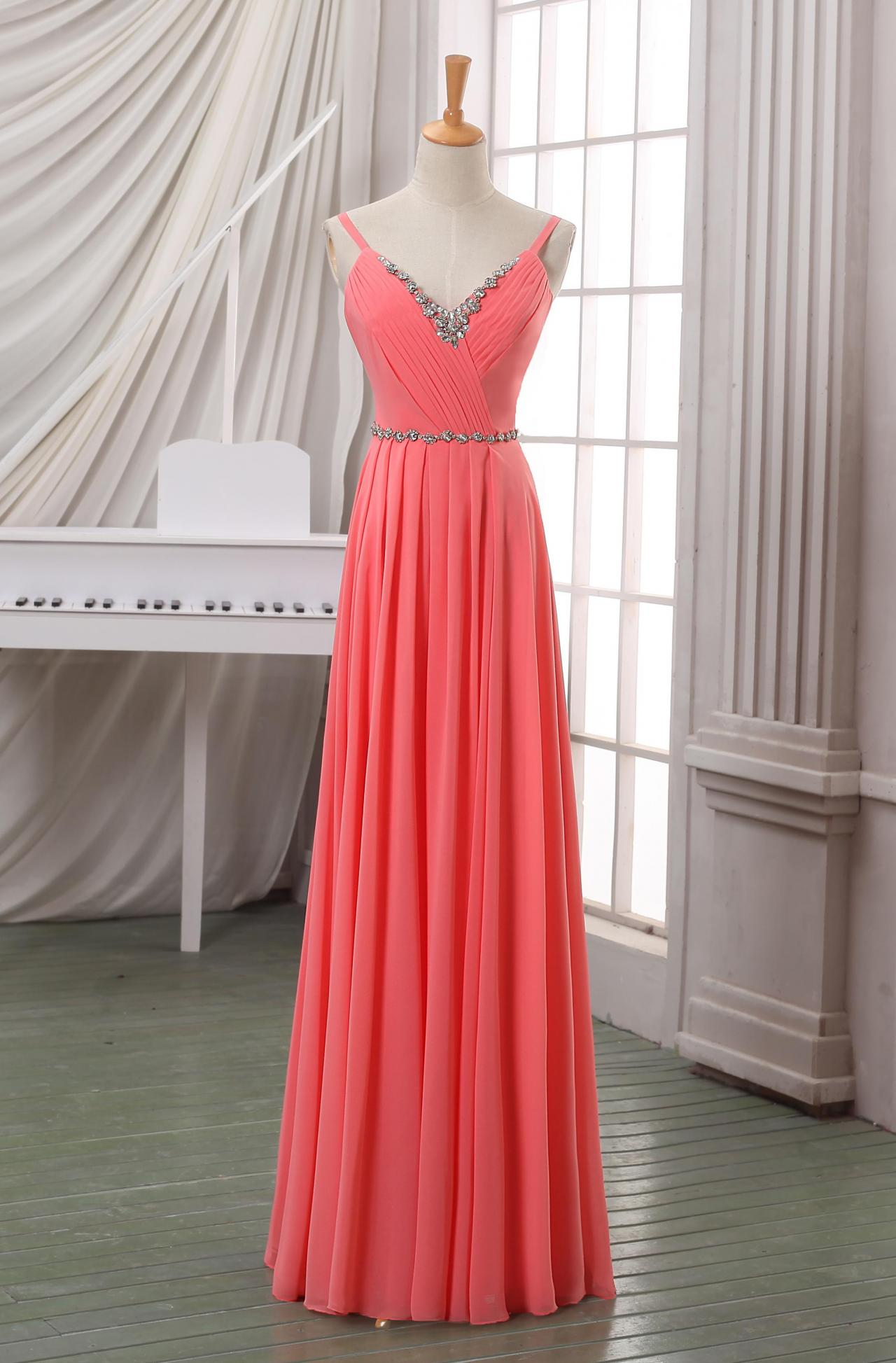 Coral V neck long chiffon evening dress/prom dress/party dress with beadings and spaghetti strap,long coral homecoming dress 2014.