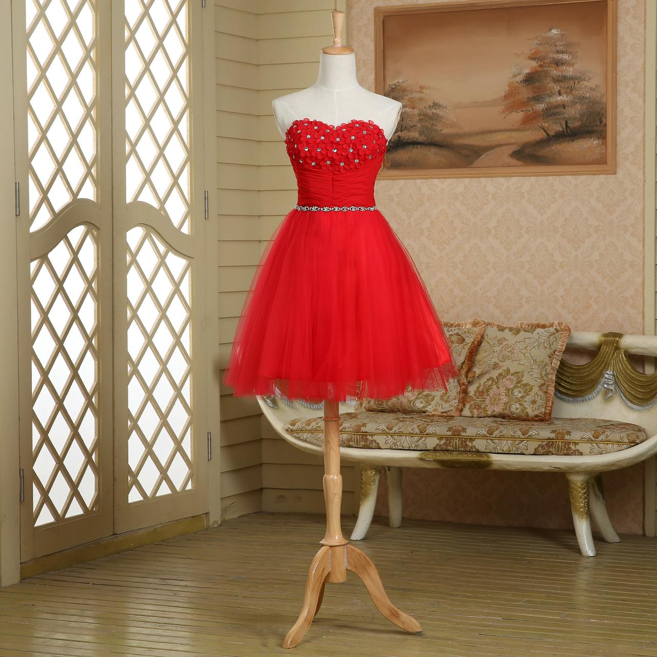 Hand Made Flowers Red Short Ball Gown Beaded Junior Kid Prom Dress ...