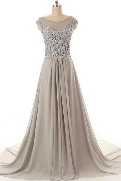 Lace Evening Dresses Chiffon Lace Cover Appliques Beaded Custom Size and Color Zip Back A-Line Evening Party Dresses