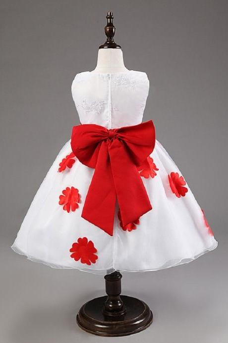 Elegant Baby Girls Birthday Gift White Flower Party Dress Cute Bow Infant Princess Kids Wedding Dress Girls Bridesmaid Clothing