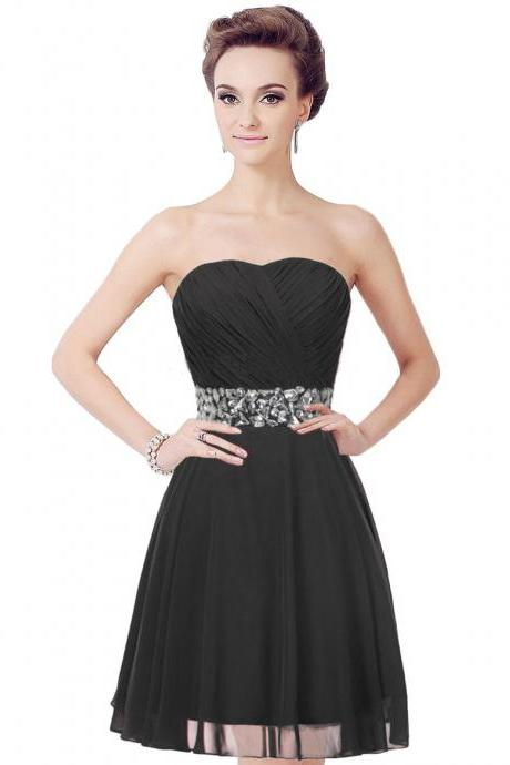 Short prom dresses cheap short A-line strapless chiffon prom dresses with crystals tailor