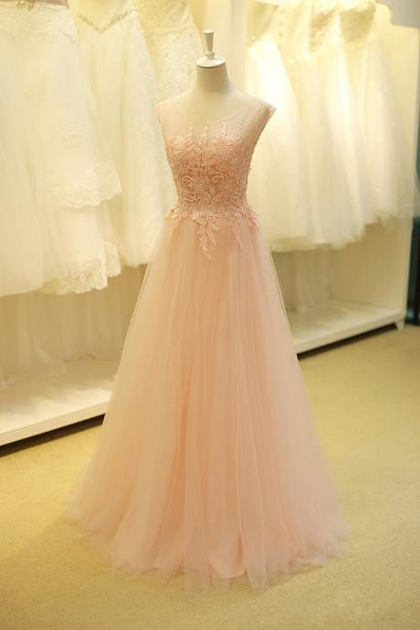 Pink prom dress,A-line lace long evening dress,formal gown from Formal Dress
