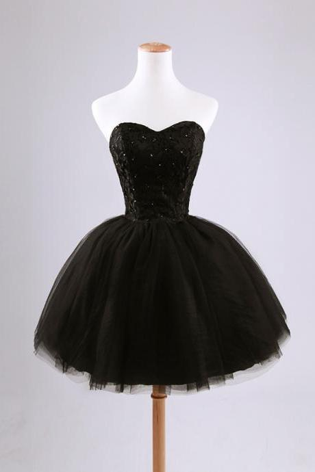 Black prom dress,evening dress prom,knee length prom dress,tulle prom dress short, homecoming dresses