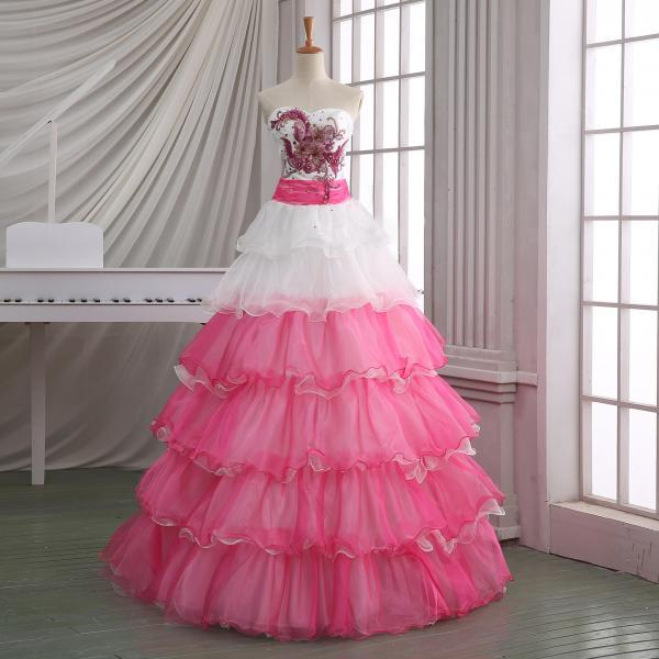 2014 New handmade wedding dress,white& pink wedding dress with ruffles,cheap wedding dress.