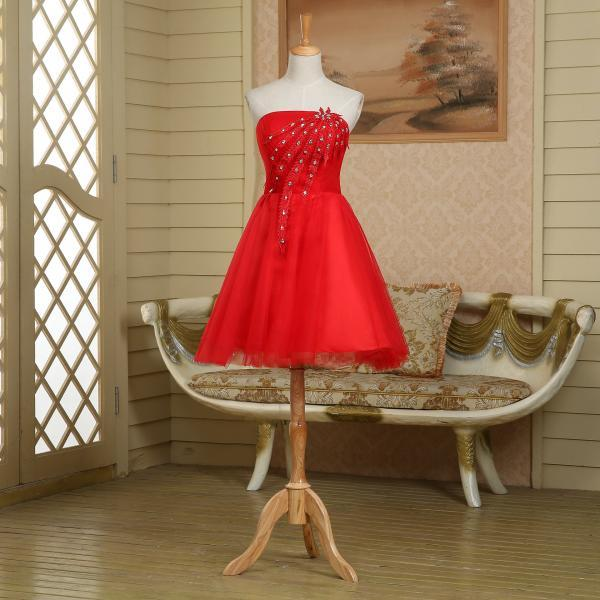 Strapless unique short red peacock prom dress,evening dress,homecoming dress,party dress,bridesmaid dress wedding,club,cocktail dress,birthday ,graduation dress,pageant dress