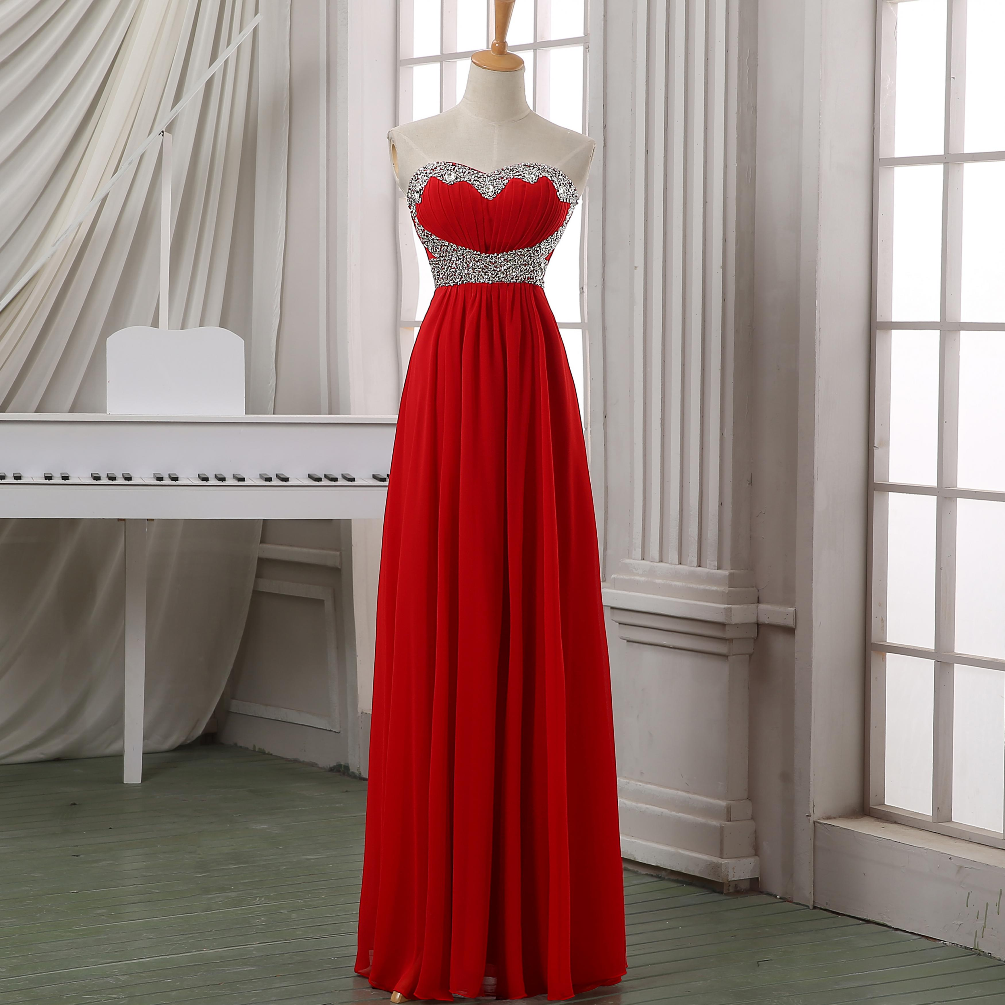 New Arrival Red Chiffon Beading Prom Dress Evening Dress Red Maxi Dress Cheap Long Chiffion Dress Red Long Prom Dress Wedding Party Dress