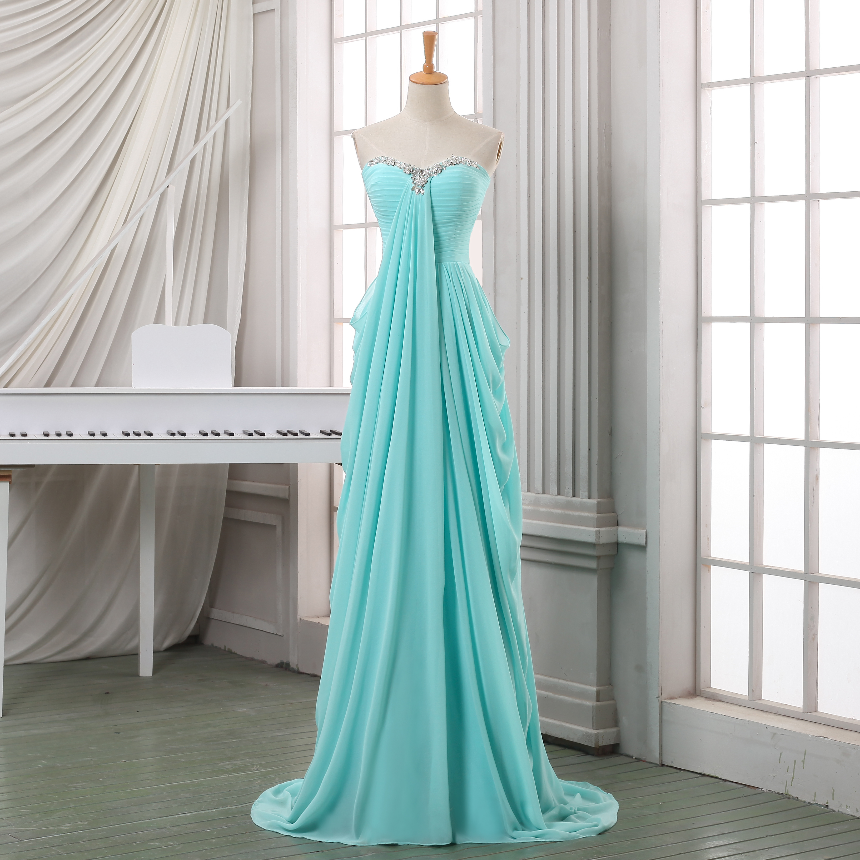 Long Pleated Chiffon Prom Dress A Line Sweeetheart Prom Dress baby