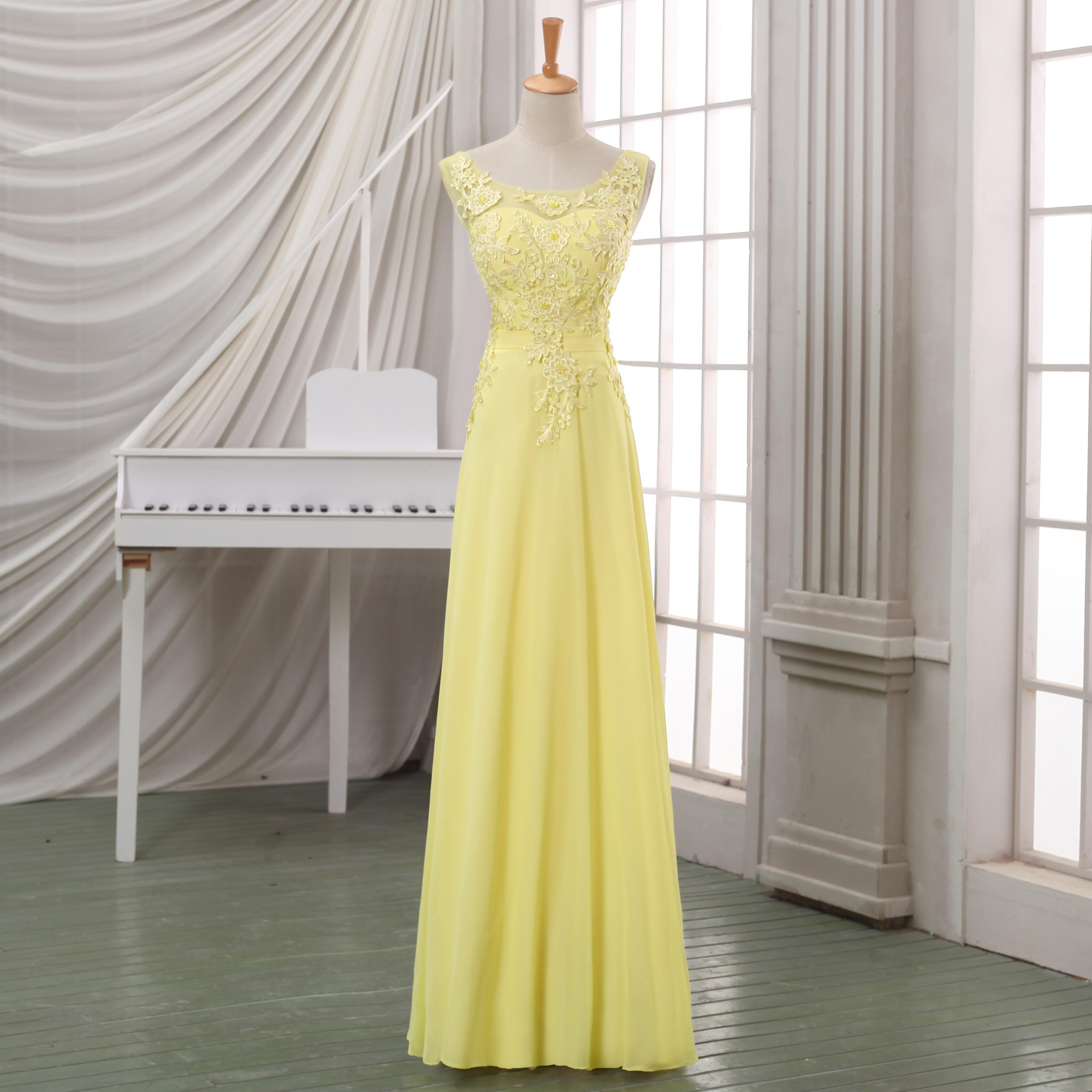 202150873d7 2016 New Arrival Yellow Lace Evening Dress